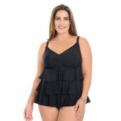 Plus Size Croft & Barrow® Tummy Slimmer Tiered Swimdress