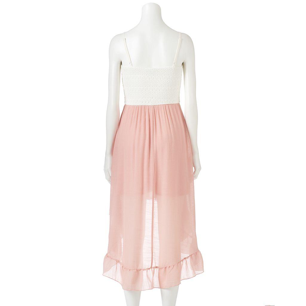 Juniors' Lily Rose Lace High-Low Hem Dress