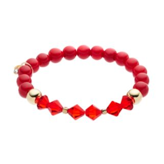 TFS Jewelry 14k Gold Over Silver Red Jade Bead & Crystal Stretch Bracelet