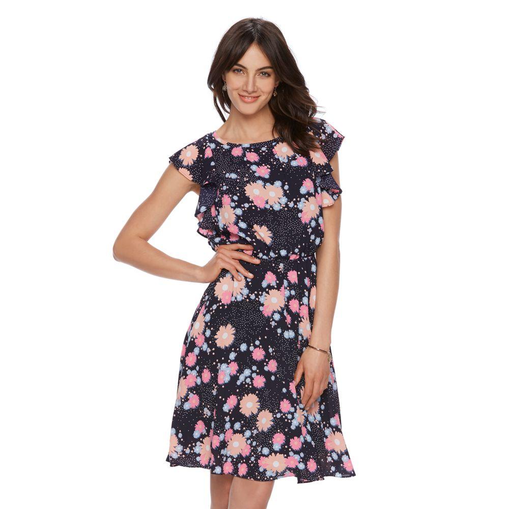ELLE™ Printed Flutter Fit & Flare Dress