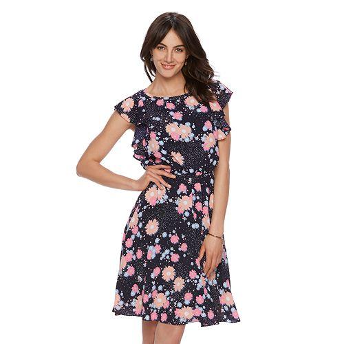 Women's ELLE™ Printed Flutter Fit & Flare Dress