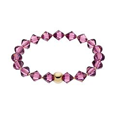 TFS Jewelry 14k Gold Over Silver Purple Crystal Stretch Bracelet