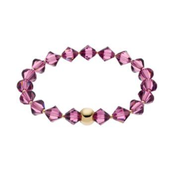 TFS Jewelry 14k Gold Over Silver Purple Crystal Stretch Bracelet