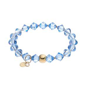 TFS Jewelry 14k Gold Over Silver Violet Crystal Stretch Bracelet