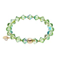 TFS Jewelry 14k Gold Over Silver Green Crystal Stretch Bracelet