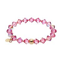 TFS Jewelry 14k Gold Over Silver Pink Crystal Stretch Bracelet