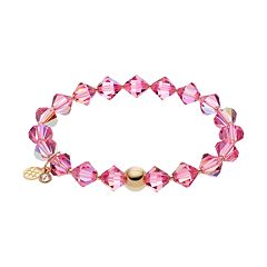 TFS Jewelry 14k Gold Over Silver Pink Crystal Stretch Bracelet