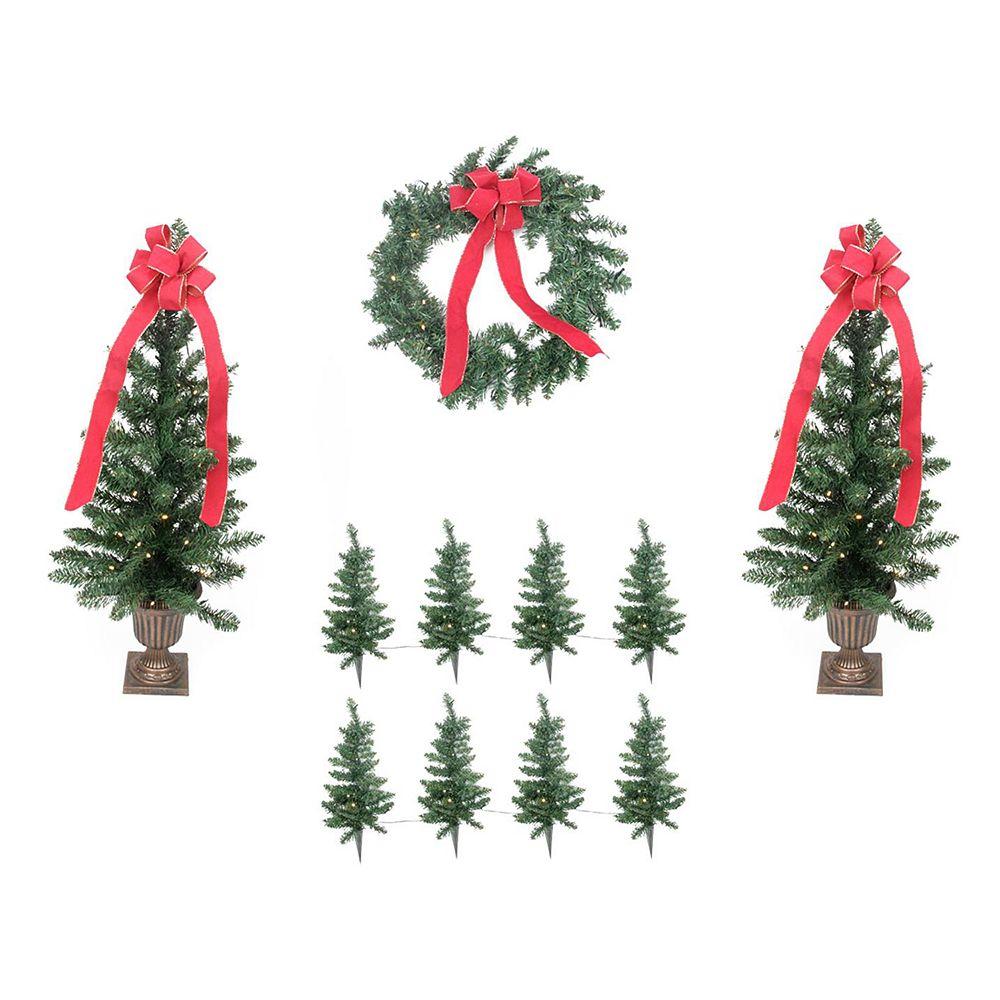 Pre-Lit Artificial Christmas Tree Lawn Stake, Entrance Tree & Wreath ...