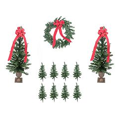 Pre-Lit Artificial Christmas Tree Lawn Stake, Entrance Tree & Wreath 11-piece Set