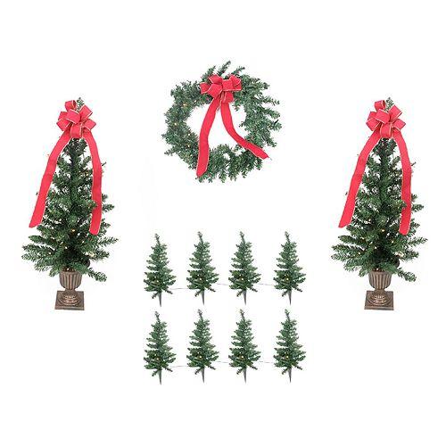 Pre-Lit Artificial Christmas Tree Lawn Stake, Entrance Tree & Wreath 11-piece Set