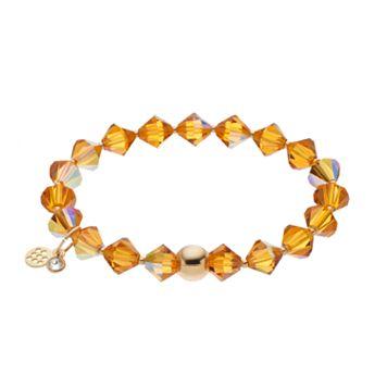 TFS Jewelry 14k Gold Over Silver Yellow Crystal Stretch Bracelet