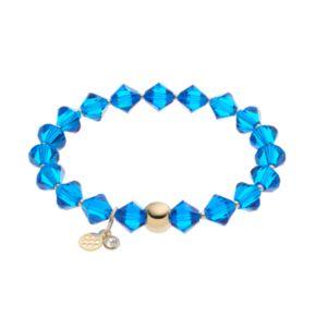 TFS Jewelry 14k Gold Over Silver Blue Crystal Stretch Bracelet