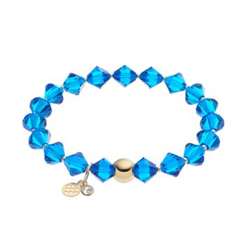 TFS Jewelry 14k Gold Over Silver Blue Crystal Stretch Bracelet