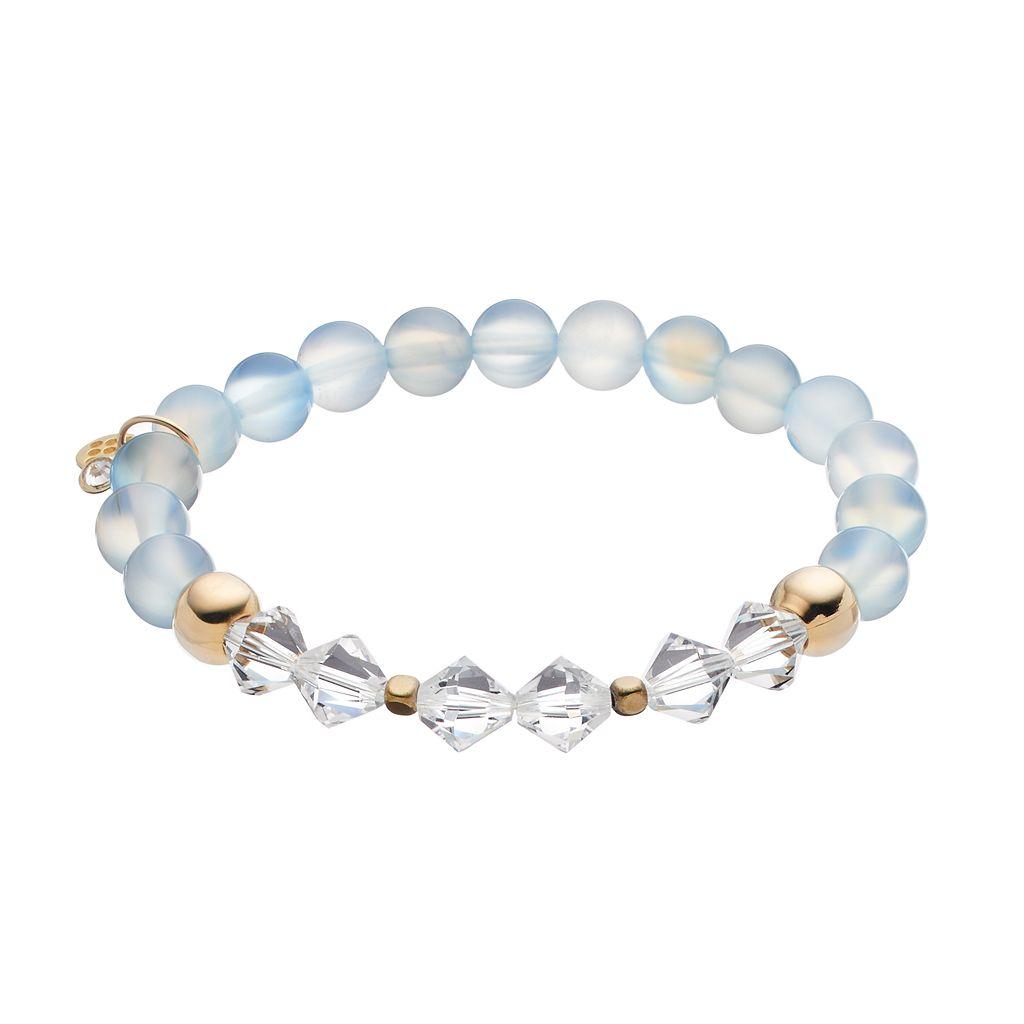 TFS Jewelry 14k Gold Over Silver Aquamarine Bead & Crystal Stretch Bracelet