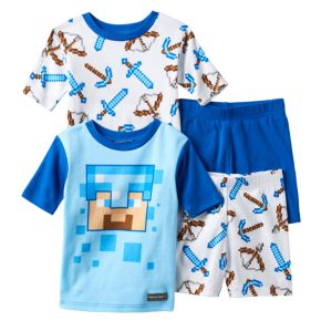 Boys 4-12 Minecraft 4-Piece Pajama Set