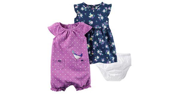 Baby Girl Carter S Floral Dress Amp Polka Dot Sunsuit Set