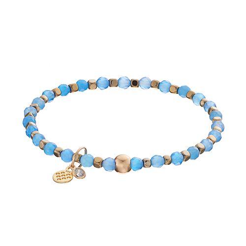 TFS Jewelry 14k Gold Over Silver Blue Onyx Bead Stretch Bracelet