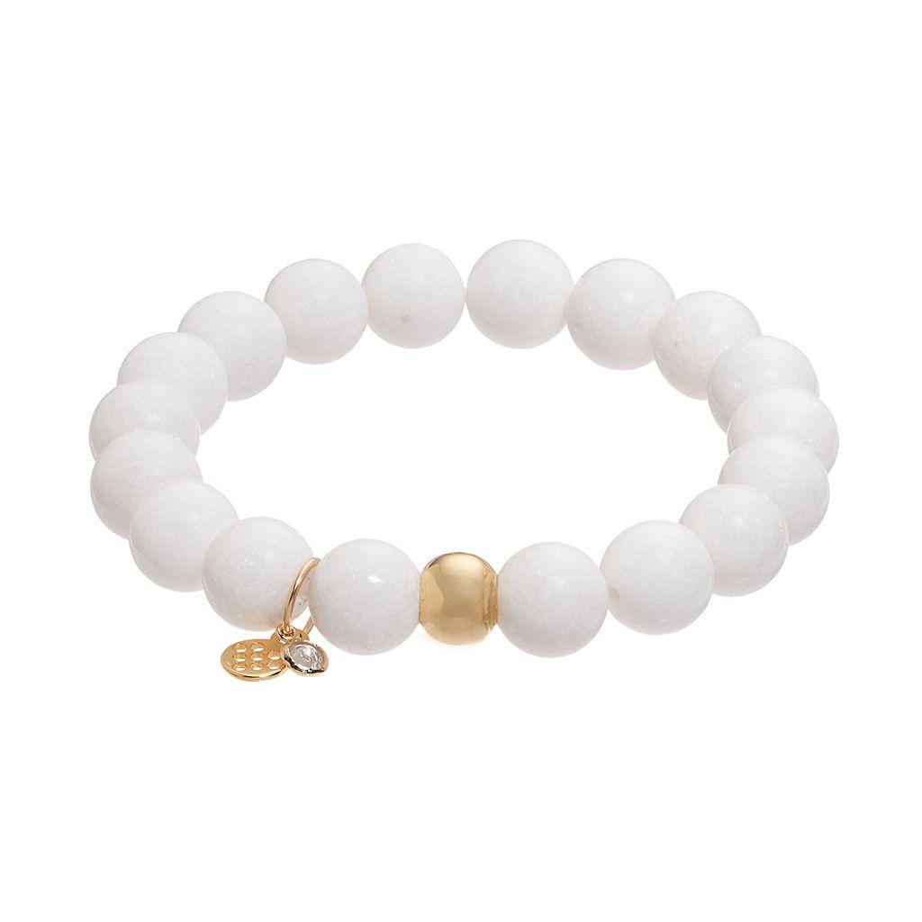TFS Jewelry 14k Gold Over Silver White Jade Bead Stretch Bracelet