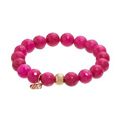 TFS Jewelry 14k Gold Over Silver Fuchsia Quartz Bead Stretch Bracelet