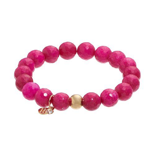 TFS Jewelry 14k Gold Over Silver Fuchsia Quartz Bead Stretch Bracelet