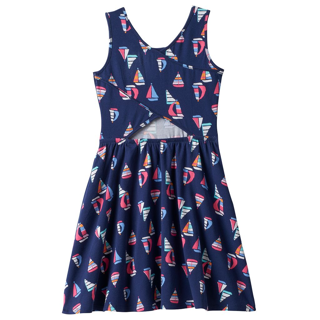 Girls 4-10 Jumping Beans® Cross Back Cutout Patterned Dress