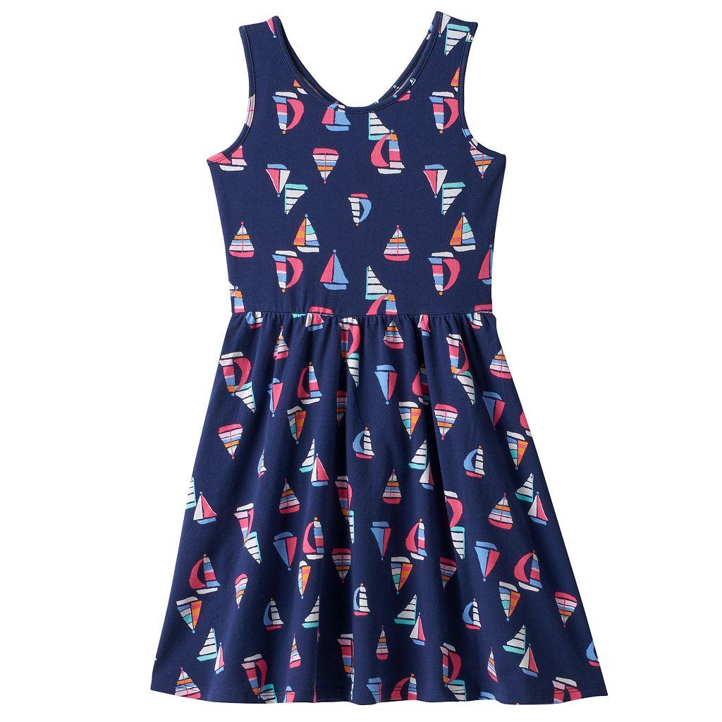 Girls 4-10 Jumping Beans® Cross Back Cutout Patterned Dress