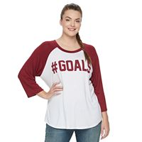 Juniors' Plus Size Starlet Baseball Graphic Tee