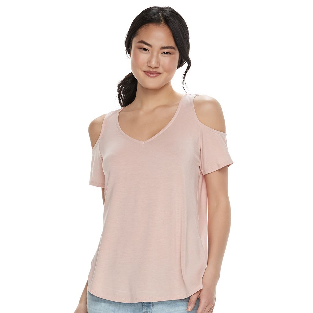 Juniors' Love, Fire Cold Shoulder V-Neck Tee