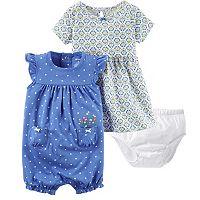 Baby Girl Carter's Tile Dress & Polka-Dot Sunsuit Set