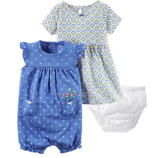 Baby Girl Carter's Tile Dress & Polka-Dot Sunsuit Set