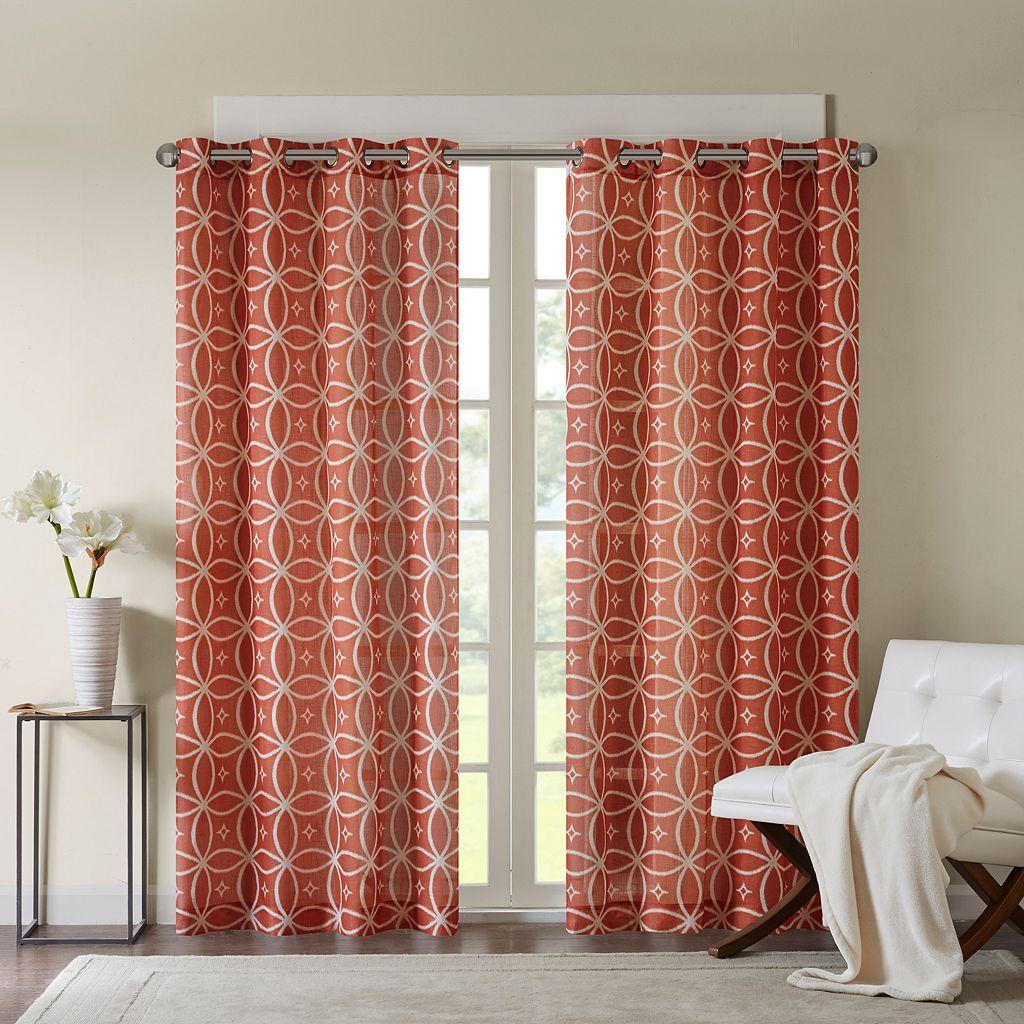 Madison Park Zafar Fret Printed Window Curtain