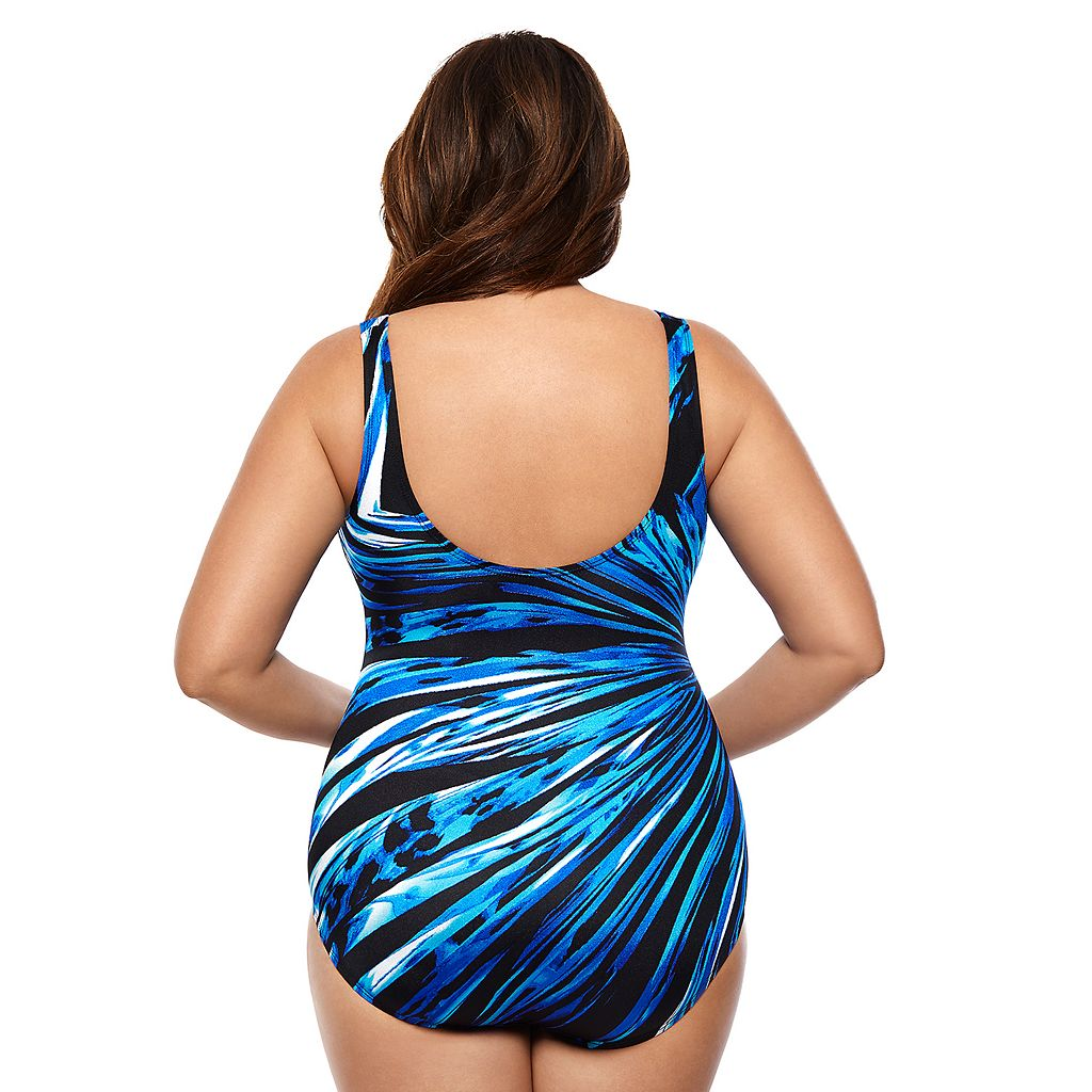Plus Size Great Lengths Body Sculptor Printed One-Piece Swimsuit