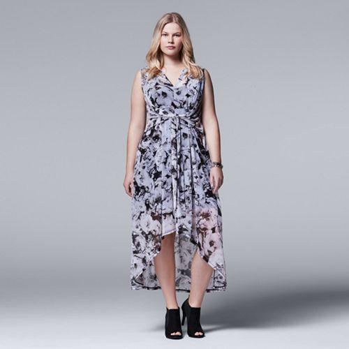 Plus Size Simply Vera Vera Wang High-Low Chiffon Maxi Dress