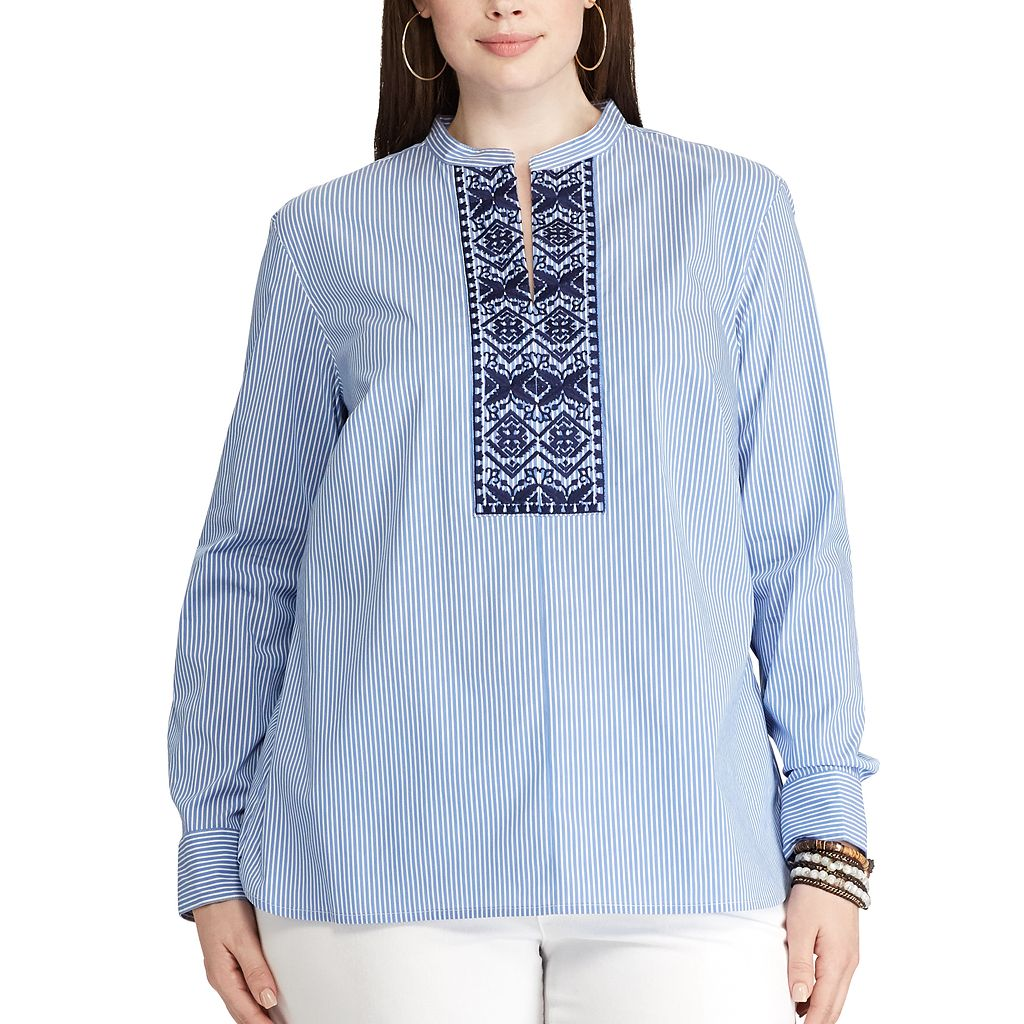 Plus Size Chaps Striped Embroidered Shirt