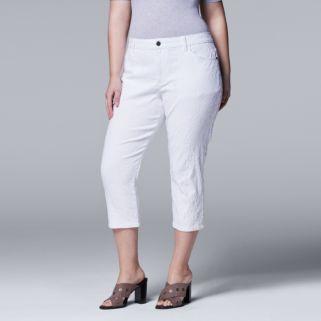 Plus Size Simply Vera Vera Wang Jacquard Capris