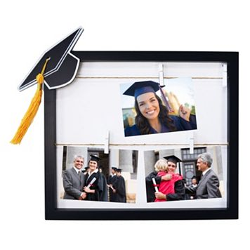 New View Graduation Cap Clothespin 4-photo Collage Frame