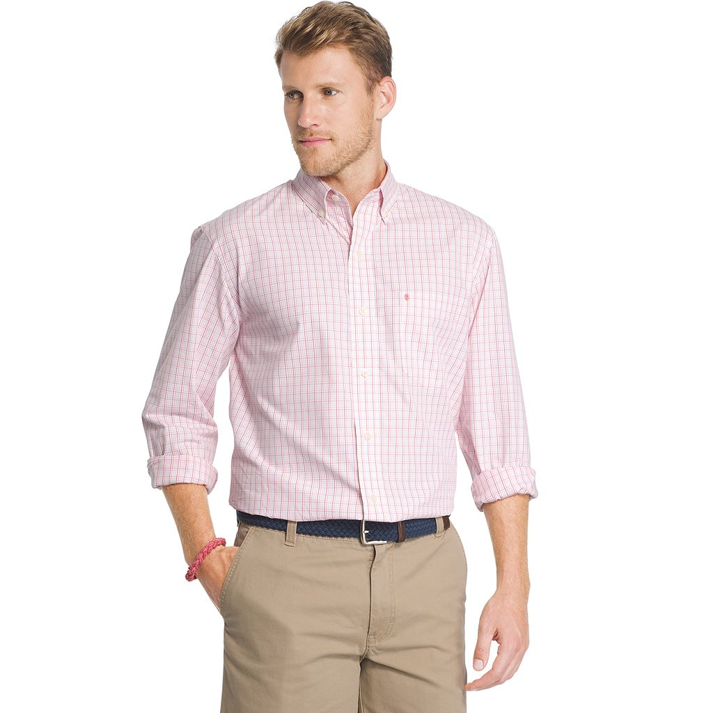 Men's IZOD Essential Classic-Fit Checked Button-Down Shirt