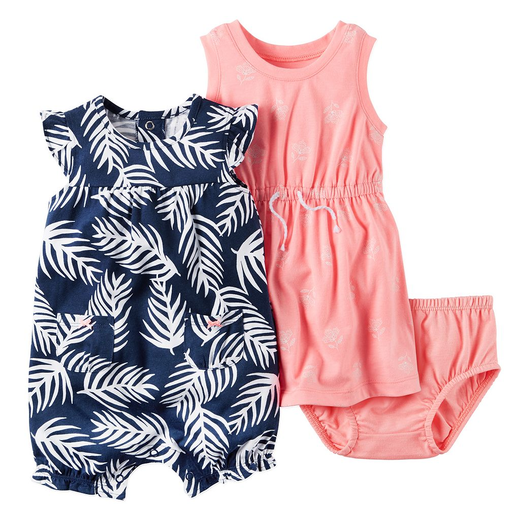 Baby Girl Carter's Floral Dress & Palm-Leaf Sunsuit Set