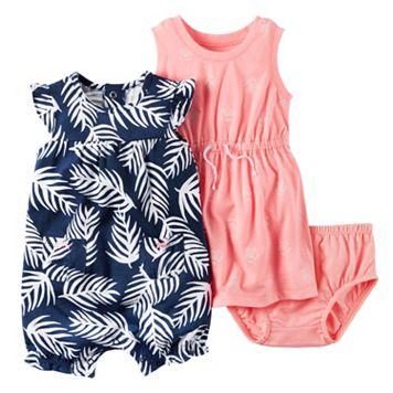 Baby Girl Carter's Floral Dress & Palm-Leaf Sunsuit Set