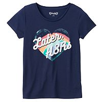 Girls 7-16 Mudd® Raw Edge Scoopneck Graphic Tee