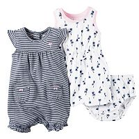 Baby Girl Carter's Palm Tree Dress & Striped Sunsuit Set
