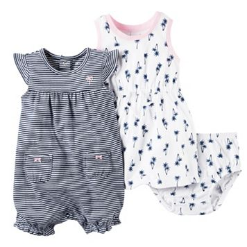 Baby Girl Carter's Palm Tree Dress & Striped Sunsuit Set