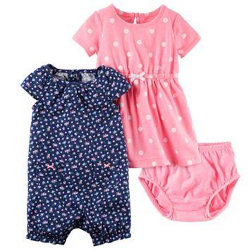 Baby Girl Carter's Floral Sunsuit & Polka-Dot Dress Set