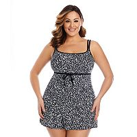 Plus Size Great Lengths Pebble Peach Hip Minimizer Empire Swimdress
