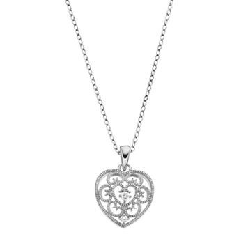 PRIMROSE Cubic Zirconia Filigree Heart Pendant Necklace