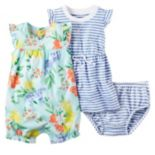 Baby Girl Carter's Floral Bubble Romper & Striped Dress Set
