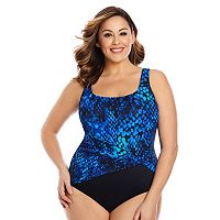 Plus Size Great Lengths Cheating Cheetah Tummy Slimmer Swimsuit