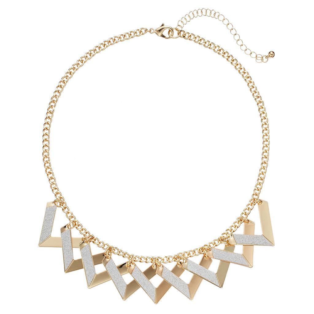Two Tone Glittery Chevon Statement Necklace