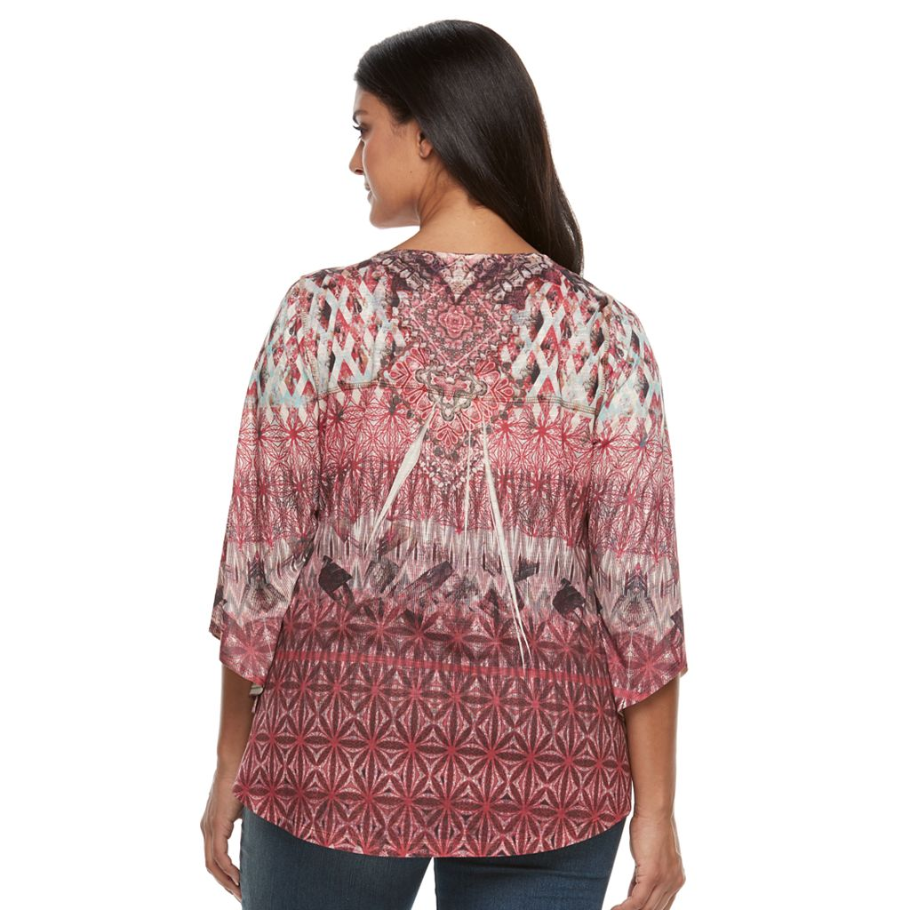 Plus Size World Unity Embellished Sublimation Top