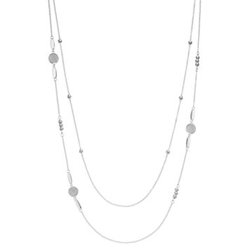 Long Glittery Disc Beaded Double Strand Necklace